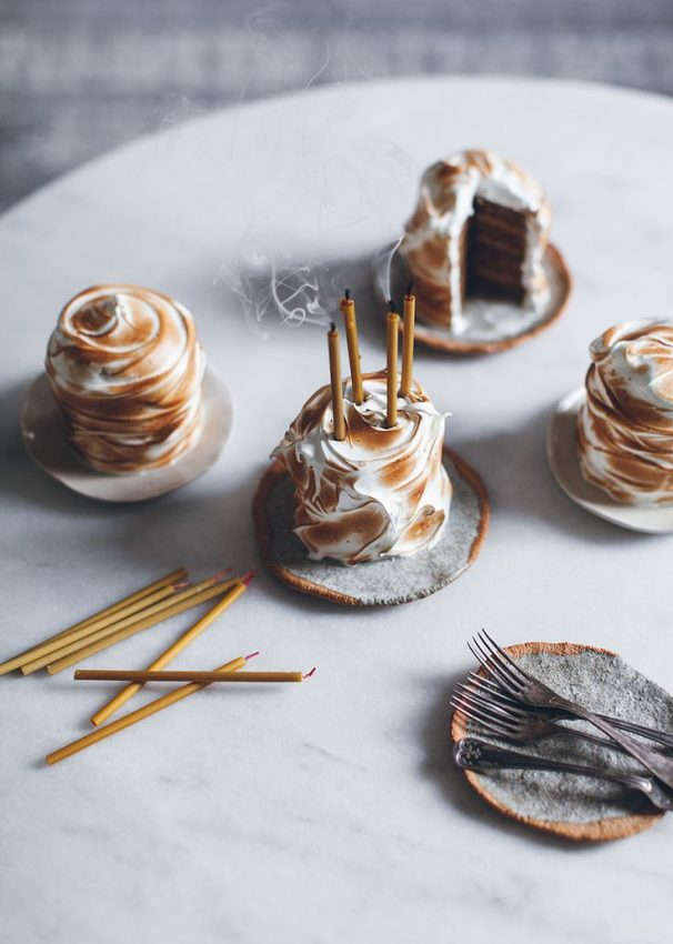 Mini pumpkin cakes with caramel pastry cream and toasted lemon meringue frosting