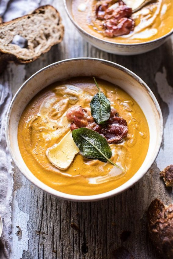 Butternut Squash and Brie Soup with Crispy Pancetta | Half Baked Harvest