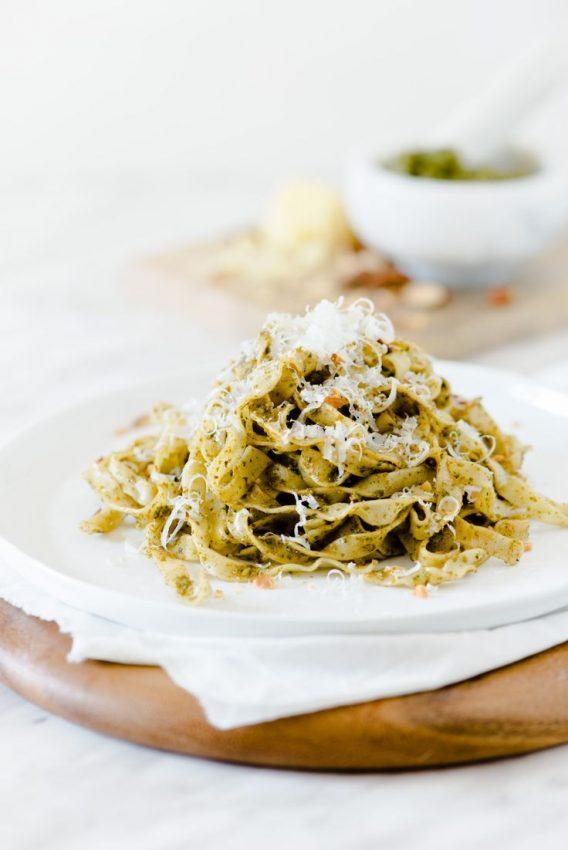 Pesto and Almond Fettuccine