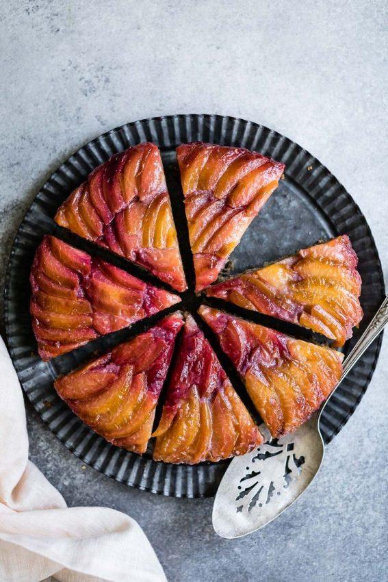 Chestnut Plum Upside-Down Cake #glutenfree