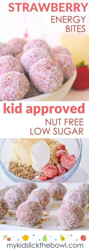 Healthy strawberry energy bites, healthy breakfast idea, nut free, low sugar, healthy snack for…
