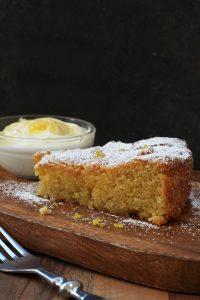 Lemon Polenta Cake with lemon curd cream