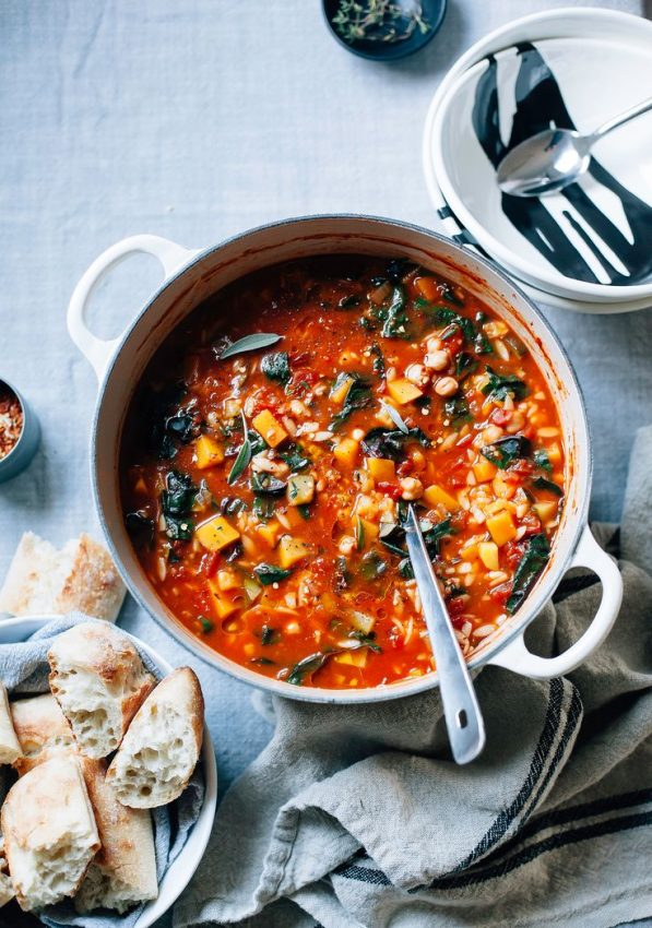 BUTTERNUT MINESTRONE WITH SAGE, CHICKPEAS & CHARD » The First Mess // Plant-Based Recipes…