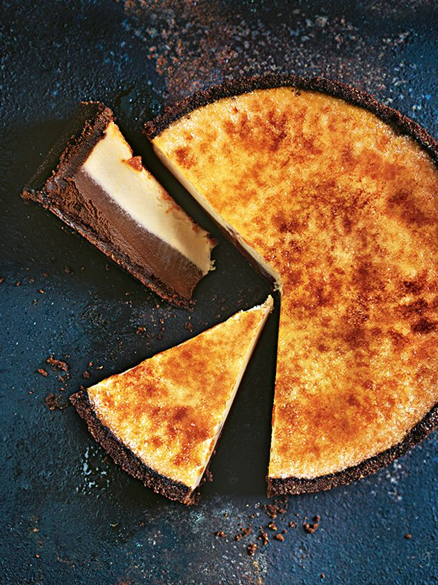 Chocolate Vanilla Brulee Cheesecake