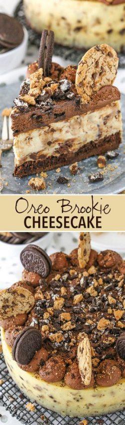 Oreo Brookie Cheesecake – a layer of brownie, chocolate chip cookie cheesecake and Oreo…