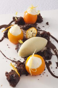 1-Michelin Star Restaurant L'altro's seasonal dessert – Citrus fruits and chocolate combination lime and…