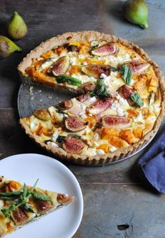 Gluten free pumpkin basil goats cheese and fig tart