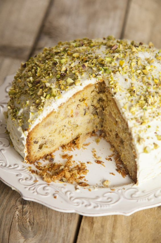 Rhubarb, Orange, Pistachio and Cardamom Cake