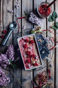 Vegan Cashew Coconut Ice Cream with Rhubarb and Baileys Almande