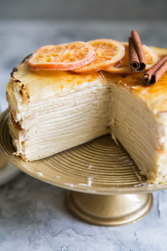 Orange Cinnamon Spiced Crepe Cake