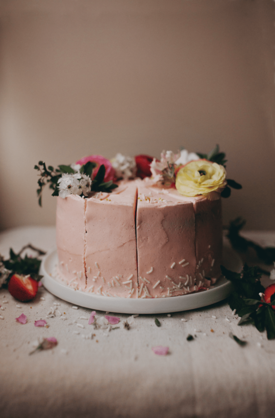 Strawberry Vanilla Bean Coconut Cake with Cream Cheese Buttercream