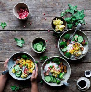"Today's #vegan explore Pinterest""> #vegan lunch of broccoli, cauliflower, rice, tofu, cucumber, sesame seeds,…"
