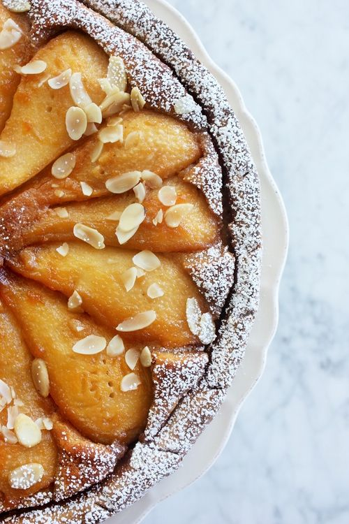 Almond tart with caramelised pears