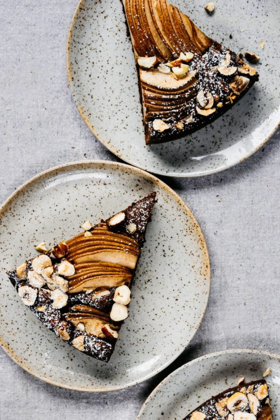 Chocolate Olive Oil Tart with Cardamom, Pears and Hazelnuts