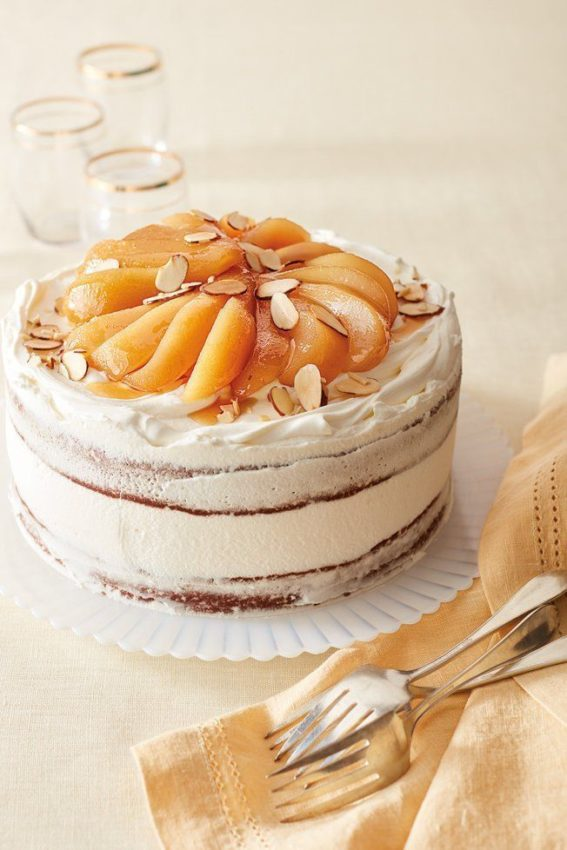Chocolate Almond Cake with Poached Pears Recipe