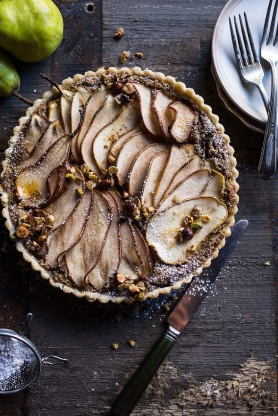Caramelised Pear and Hazelnut Crumble Tart