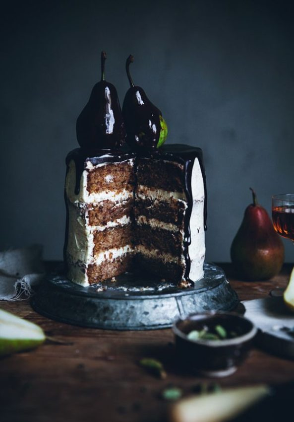 Pear cardamom cake with brown butter frosting & chocolate glaze
