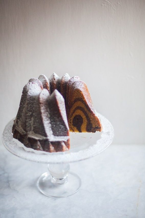 Chocolate Pumpkin Swirl Bundt Cake