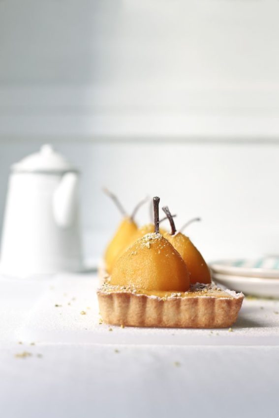 Pear and saffron tart