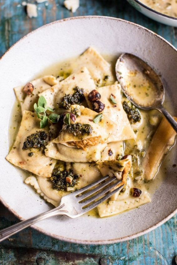 Butternut Squash Hazelnut Ravioli in Garlic Parmesan Broth | Half Baked Harvest