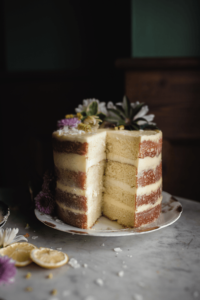lemon layer cake with coconut buttercream