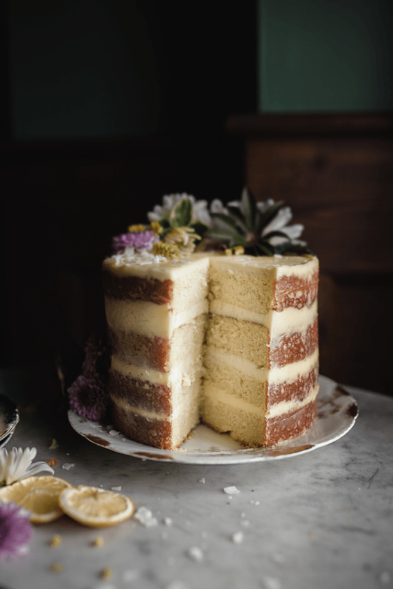lemon layer cake with coconut buttercream