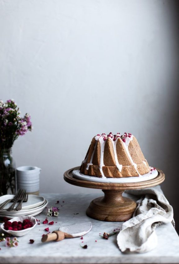 Raspberry Rose Bundt Cake