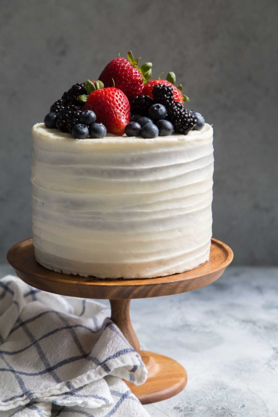 Mixed Berry Layer Cake with Cream Cheese Frosting