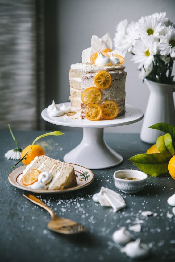 Pistachio Meringue Cake with Mascarpone Lemon Curd Frosting