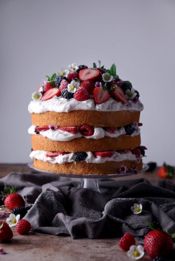Lemon Layer Cake with Berries