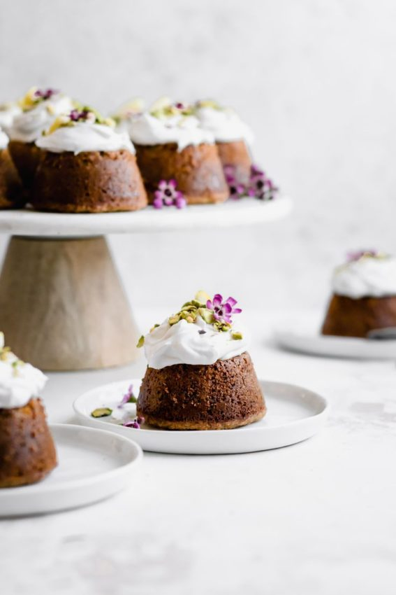 Flourless Lemon Pistachio Cakes with Honey Coconut Whipped Cream