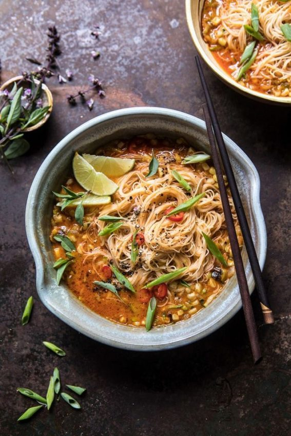 Coconut Curry with Rice Noodles and Garden Vegetables