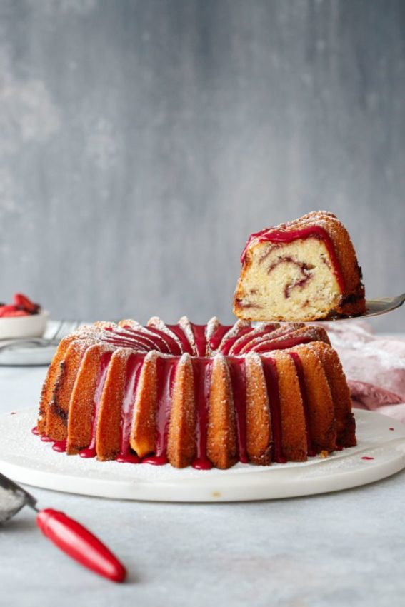 vanilla pound cake with a strawberry-hibiscus sugar swirl and strawberry hibiscus glaze