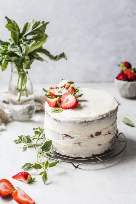 Classic Vanilla Cake with Strawberry Basil Compote | The Almond Eater