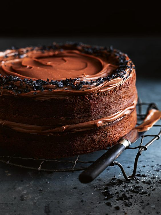 Salted Dark Chocolate Layer Cake With Milk Chocolate Ganache | Donna Hay