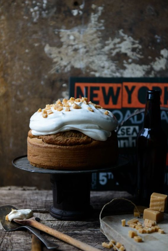 Pecan and Maple Syrup Sponge Cake with Maple Syrup Meringue Frosting ~ via this…
