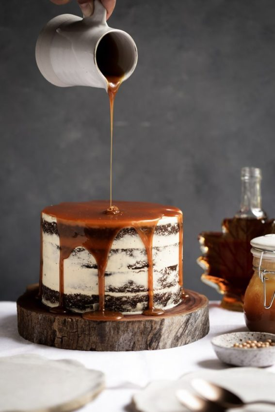 "pumpkin spice cake with maple frosting + salted caramel … #cake explore Pinterest"">…"
