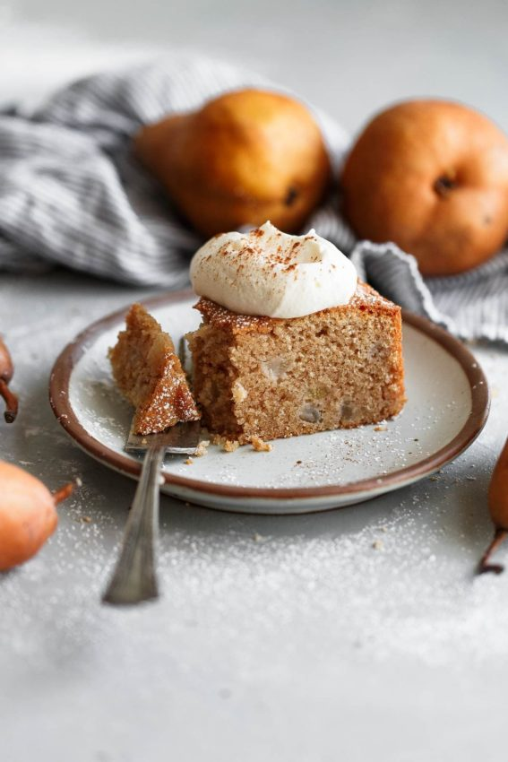 Spiced Almond Pear Cake (Easy Pear Cake Recipe) – A Beautiful Plate