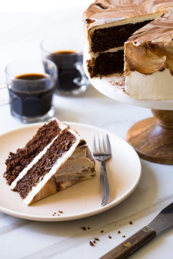 A moist, Gluten-Free Chocolate Cake with added coffee for richness, topped with a Vietnamese…