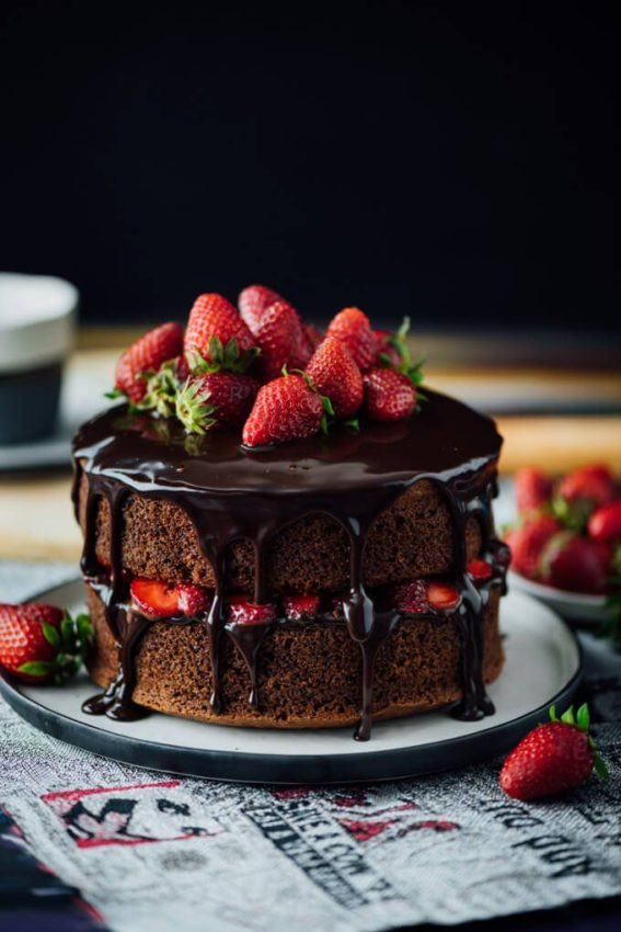The EASIEST Strawberry Chocolate Cake ever! You just need to add a simple chocolate…